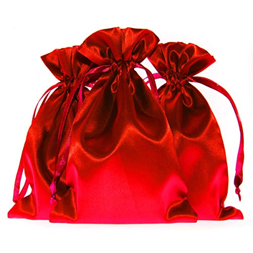 """Knitial 4"""" x 6"""" Red Satin Gift Bags, Jewelry Bags, Wedding Favor Drawstring Bags Baby Shower Christmas Gift Bags 50 per Pack"""