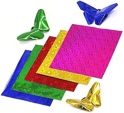 Papel plegable de colores, 100 hojas de papel origami Papeles efecto brillo iridiscente Papel plegable cuadrado Corte de papel Papel láser Papel hecho a mano Papel perlado 15 x 15 cm
