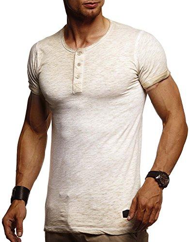Leif Nelson Herren Sommer T-Shirt Rundhals-Ausschnitt Slim Fit Baumwolle-Anteil Moderner Männer T-Shirt Crew Neck Hoodie-Sweatshirt Kurzarm lang LN8226 Beige X-Large