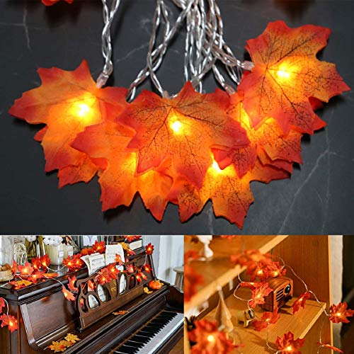 Fall Leaves Garland String Lights for Bedroom, 40 LEDs Thanksgiving Fairy Lights Indoor Fall Lights String, Holiday Decorations, Christmas Gifts