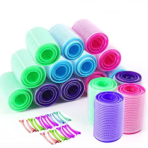 Zuzer Rulo de Pelo,48PCS Rulos Rizar Pelo Hair Curlers Rollers y 20PCS Pinza de Pelo para Niñas Mujeres(Pequeño Mediano Grande) (Talla 2)