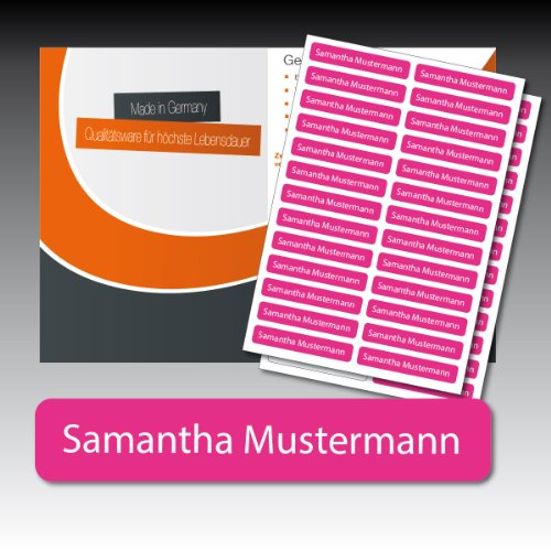 256 gedruckte, selbstklebende Namen-Etiketten - pink, Schrift weiss - 6 mm x 35 mm (max. 25 Zeichen) - in Industriequalität - von Luminess - Made in Germany