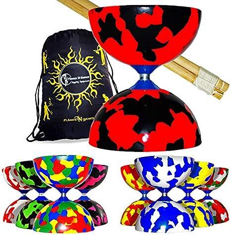 Jester Diabolos + varillas de madera para diablo, cuerda diablo y bolsa de viaje. (rojo/amarillo)