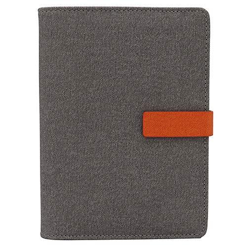 TSY navulbare dagboeken, tijdschriften en notitieboekjes, Executive persoonlijke organisatoren voor mannen, 6 gaatjes ringband met gevoerd papier, penhouder, kaartzakken en magnetische clip A6 Lichtgrijs