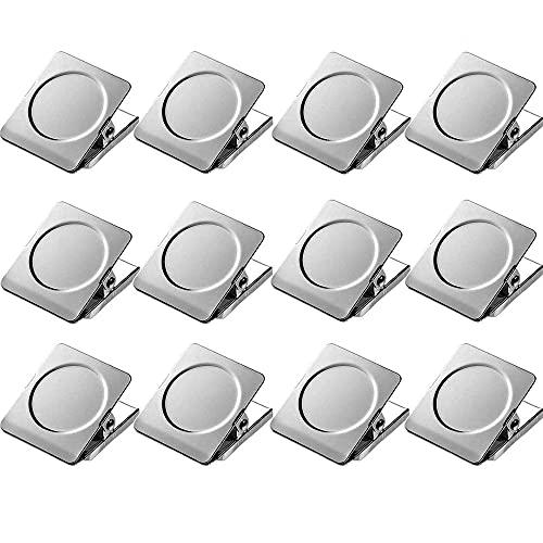 12 clips magnéticos fuertes, clips magnéticos para nevera, 30 mm, clips de metal para tablón, pizarra, oficina, cocina