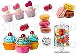 STICKER'S LAND Chocolat et de pâtisserie Stickers décoratifs Autocollant Feuille...