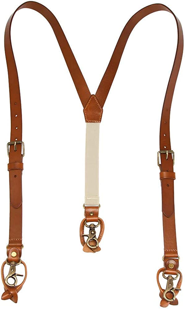 1 Inch Men's Suspenders 3 In 1, Leather Genuine Suspenders , Elastic Strap with Clips, Buttons, Snap Hooks