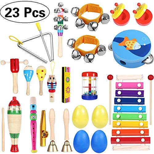 iBaseToy Toddler Musical Instruments 23Pcs 16Types Wooden Percussion Instruments Tambourine Xylophone Toys for Kids Preschool Education, Early Learning Musical Toys Set for Boys Girls with Storage Bag