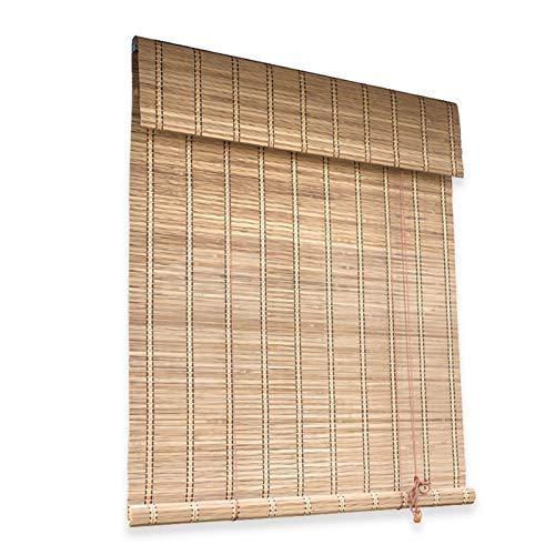 Persiana Enrollables Bambú Persiana Enrollable de Ventana Interior de Bambú, Estudio de la Sala Cortinas Enrollables con Cenefa Plana, 80cm / 100cm / 120cm / 140cm / 150cm de Gran Angular Opcional