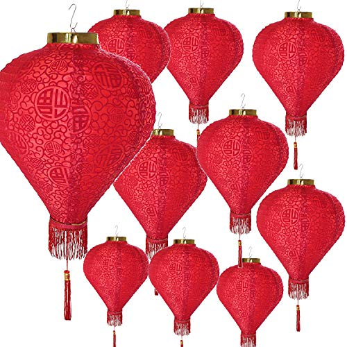"""14"""" (Set of 10) Red Good Fortune (Fu) Oriental Chinese Japanese Red Fu Paper Lantern Festival Decoration For Wedding, New Year, Chinese Spring Festival, Celebration Party Decor ~ We Pay Your Sales Tax"""