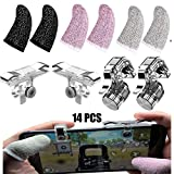 Mobile Game Controller PUBG Trigger - Finger Sleeves for Mobile Gaming Thumb Sleeves for Call of Duty Mobile/FORTNITE Mobile/PUBG UC Gaming Sleeve and TRIGGERS for iPhone and Android (14 Pcs)