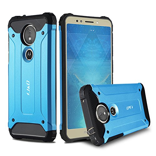 JundD Moto E5 Hülle, [ArmorBox] [Doppelschicht] [Heavy-Duty-Schutz] Hybrid Stoßfest Schutzhülle für Motorola Moto E5 - [Nicht kompatibel mit Moto E5 Plus/Moto E5 Play] - Blau