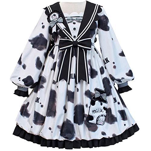 donne vacche Z.L.F.J.P Stampa di Vacca Manica Lunga Lolita Dress Sailor Collar Dress Costume Cosplay Donne Principessa Regalo (Color : Multi-Colored