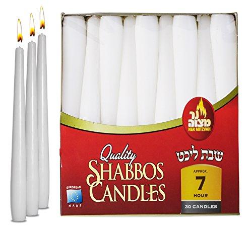 Ner Mitzvah Classic White Taper Candles – 20 cm – 30 Bulk Pack – for Shabbat, Dinner Tables, Restaurants, Ceremonies and Emergency - 7 Hour Burn Time