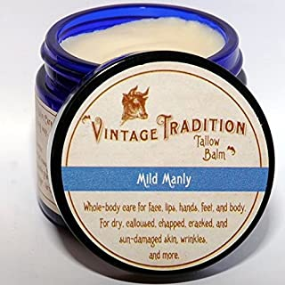 Vintage Tradition Mild Manly Tallow Balm, 100% Grass-Fed, 2 Fl Oz