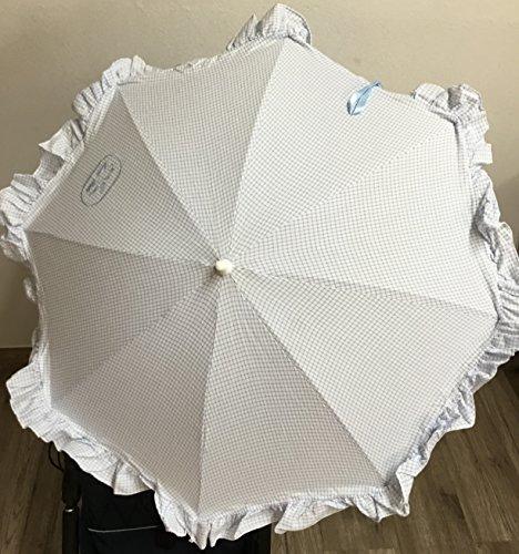 Sombrilla para silla de paseo + flexo universal. Parasol cuadros celestes