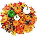 Yeelan 139 Pezzi di zucche Artificiali del Ringraziamento, Set di Decorazioni Autunnali con Zucca, Foglie di Acero, Zucca, pigne, Set di Verdure Raccolte per Halloween/Matrimonio/casa/Natale