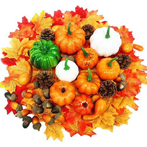 Yeelan 139pcs Thanksgiving Künstliche Kürbisse, Herbstdekoration Set mit Kürbis, Ahornblättern, Kürbis, Tannenzapfen, Eicheln DIY Ernte Gemüse Set für Halloween/Hochzeit/Zuhause/Weihnachten