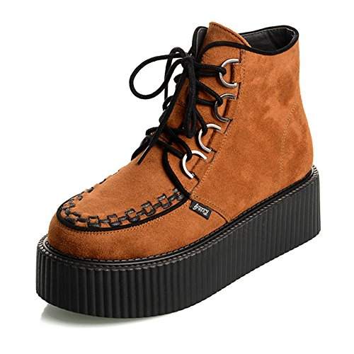 RoseG Damen Schnürsenkel Flache Plateauschuhe High Top Creepers Boots Orange Size39