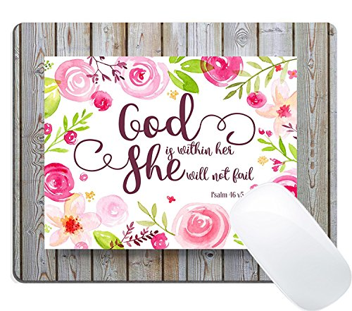 Wknoon Mouse Pad Custom, Vintage Watercolor Floral Wreath Rustic Wood Christian Scripture Quotes Inspirational - God is Within Her,She Will not Fall