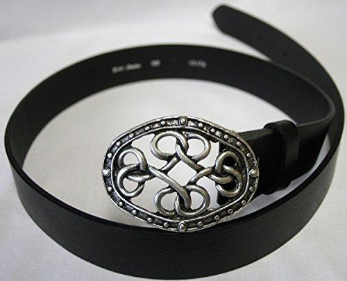 Dark Dreams Gothic Mittelalter schwarzer Gürtel Ledergürtel mit Gürtelschnalle Keltische Knoten in altsilber, Länge:90 - 3