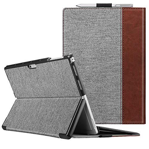 Fintie Schutzhülle für Surface Pro 7 Plus/Pro 7 / Pro 6 / Pro 5 - Business Hülle mit Harter Schale, anpassbarer Betrachtungswinkel, kompatibel mit der Type Cover Tastatur, Denim grau