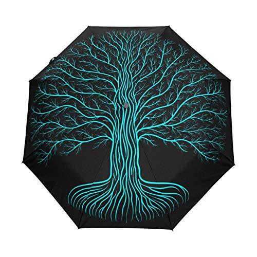 SUHETI Regenschirm Taschenschirm,Druidisches Yggdrasil Baum Nachtrundes Schattenbild,Auf Zu Automatik,windsicher,stabil