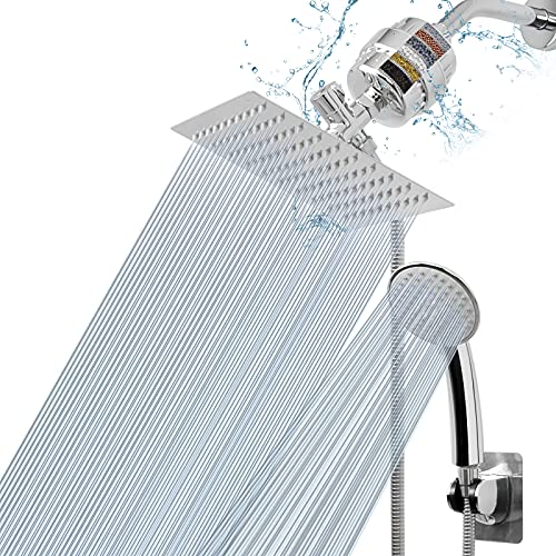 NearMoon Filtered Shower Head , High Pressure 8″Square Rain Shower Head and 5 settings Handheld Shower Filter Combo with Self-adhesive Holder/1.5M Hose -1 Replaceable Filter Cartridge (Chrome)