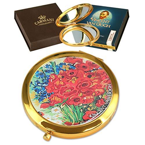 CARMANI - Miroir de poche en bronze plaqué or, compact, voyage, décoré avec la peinture de Van Gogh.