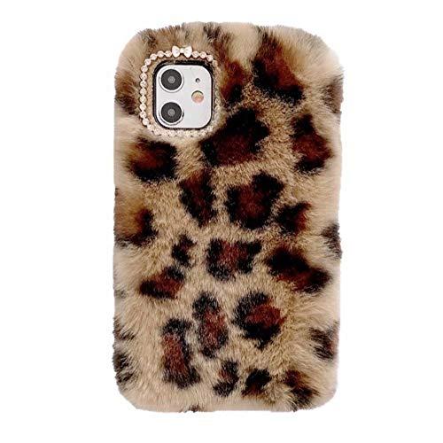 Funda para iPhone 11, diseño de leopardo 3D, flexible, de silicona suave, esponjosa, a prueba de golpes, con lazo de diamante de cristal brillante para iPhone 11, Marrón amarillo, iPhone 11