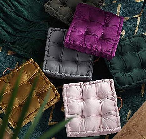 Gray wongbey WAQIA Square Thick Floor Seating Cushions,Solid Thick Tufted Cushion Meditation Pillow Square Floor Pillow Seating with Carrying Handle,Sofa Balcony Tatami Pad