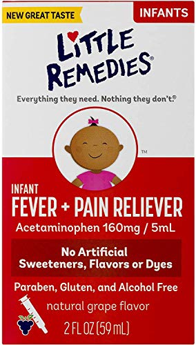 Little Remedies Infant Fever & Pain Reliever   Natural Grape Flavor   2 FL OZ   Pack of 2