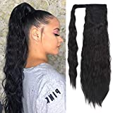 SEIKEA Clip in Ponytail Extension Wrap Around for Women Long Wavy Curly Hair Fluffy Pony Tail 24 Inch - Black