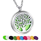 SWOPAN Essential Oil Diffuser Necklace Aromatherapy Tree of Life Diffuser Locket Pendant Stainless Steel Necklaces for Women Men Aroma Therapy Perfume Jewelry Gifts, Tree of Life Diffuser Locket-Steel