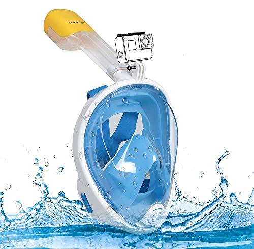 Innoo Tech Vollgesichts-Schnorchelmaske, 180° Seaview Tauchmaske Schnorchelmaske für Kinder und Erwachsene, mit Kamerahalterung S/M Blau-S