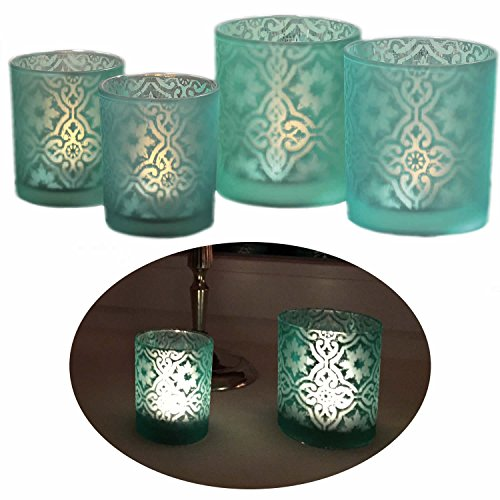 LS-LebenStil 2X Glas Teelichthalter Blau Türkis Windlicht-Halter 10x9cm / 8x7cm