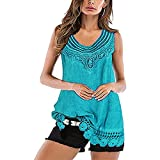 Camiseta Sin Mangas Mujer Vintage Cuello Redondo Chic Dobladillo Verano Camisa Mujer Temperamento Elegante Moda Tops Mujer Playa Vacaciones Casual Mujer Shirt H-Blue 3XL