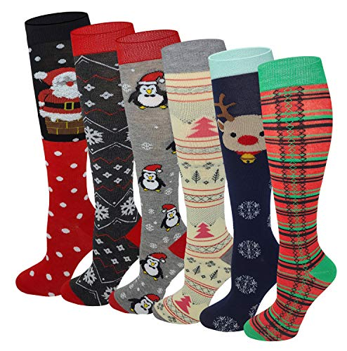 6 Pairs Women's Fancy Design Multi Colorful Patterned Knee High Socks (Christmas 2019)