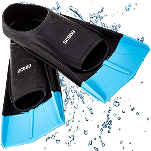 Swimming Training Fins Swim Flippers from SCOOB. Travel Size Short Blade for Snorkeling Diving Pool Activities Men Women Kids New Two Tone Trendy Design + Travel Mesh Bag (Black-Blue, S, US 3)