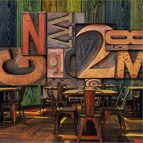 Wuyii Muurschildering 3D-muurafbeelding, kleurentafel, Engels, voor koffie, thee, restaurant, restaurant, KTV, decoratie, hotel, behang, hout 400 x 280 cm