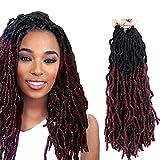 FASHION IDOL Faux Locs Crochet Hair 14 Inch Natural Wavy Locs Crochet Hair 6 Bundles Crochet Dreadlocks Extensions for Black Women Natural Black & Wine Red (TT1B/118)