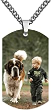 AILIN Personalized Custom Photo High Polished Color Engraved Dog Tag Necklace Pendant Titanium Steel Chain