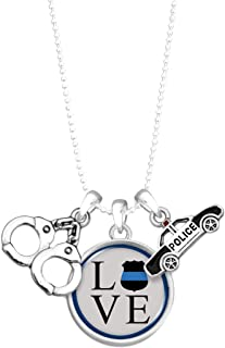 Lola Bella Gifts Love Shield Police Law Enforcement Charm Necklace with Gift Box