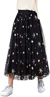 Women's Star Embroidery High Elastic Waist Mesh Tulle Pleated A-Line Midi Skirt