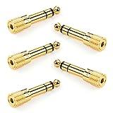 UGREEN Lot de 5 Adaptateur Jack 6.35mm Mâle vers 3.5mm Femelle Audio Jack 6.35 3.5 Plaqué Or pour Guitare Électrique...