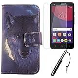 Lankashi 3in1 Set Wolf PU Flip Leder Tasche Für Alcatel One Touch Pixi 4 3G 5010D 5