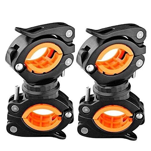 COSOOS 2 Pack Flashlight Mount Holder, Universal Bicycle Led Light Mounting Holder 360° Rotation Clip Clamp for Flashlight, Cycling, Riding