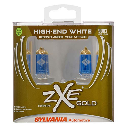 SYLVANIA - 9003 (HB2, H4) SilverStar zXe GOLD High Performance Halogen Headlight Bulb - Headlight & Fog Light, Bright White Output, Best HID Alternative, Xenon Charged Technology (Contains 2 Bulbs)