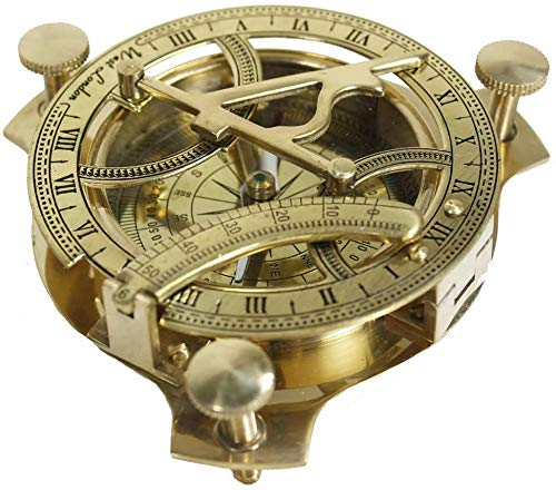 NAUTICAL GIFT 10,2 cm Sonnenuhr-Kompass – Sonnenuhr aus massivem Messing