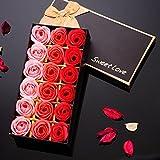 LianLe 18 Stk Duftseifen Rosen Seife Blumen Soap Flower in Elegant Box Hotel Deko Hochzeit Geschenk